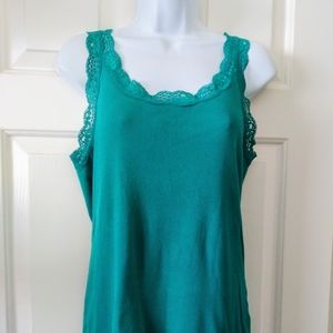 🌞Stretchy Lace Trim Teal Tank